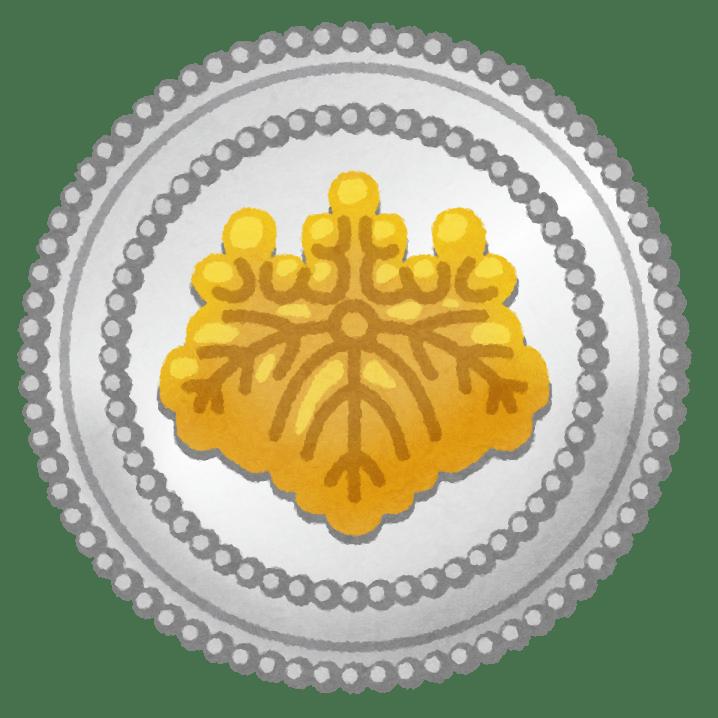 司法書士が胸につけている、桐紋の徽章のイラスト