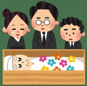 告別式で、個人と最後の対面をしている家族のイラスト