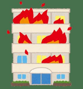 マンションが火災になって大きな炎が燃え広がっているイラスト