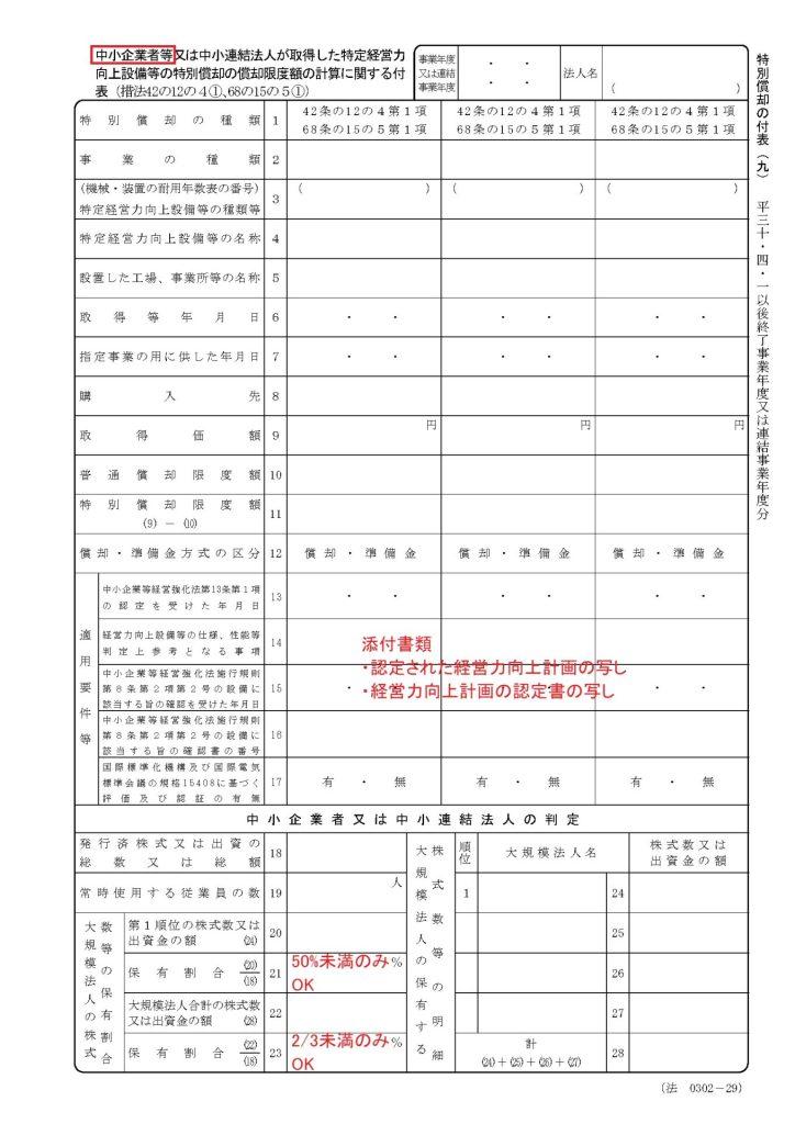 確定申告書 特別償却の付表(九)