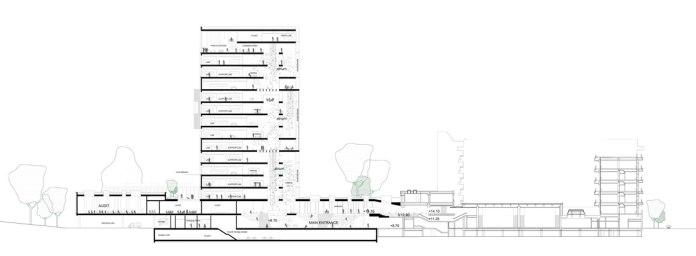 Maersk Building for University of Copenhagen by C.F. Møller - section AA