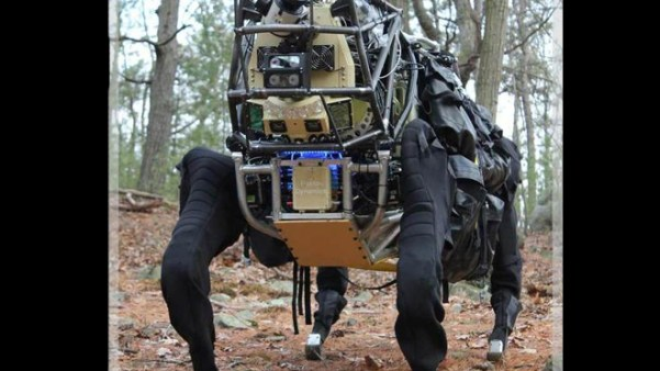 The LS3 robot funded by DARPA is a faster, quieter version of Boston Dynamics' BigDog robot. (DARPA)