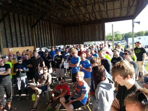 Nice size crowd at the Saturday morning CRA riders meeting.