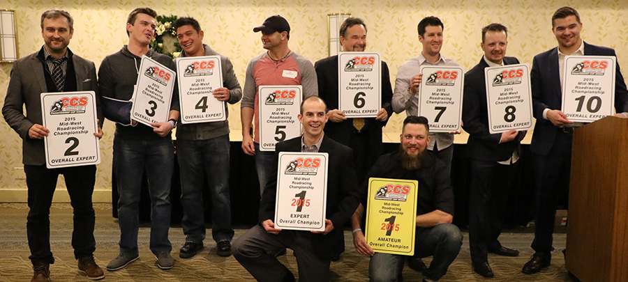 The CCS Racing series winners from Midwest 2015 From Left to Right: Bart Brejcha, Carl Soltisz, Dan Ortega, Jeff Holmgren Jr, Dave Gygax Holding Tom Girard's #6, Kevin Van Engen, Jason Farrell, Shannon Anderson. Bottom row left to right: Drew Jankord, Mark Rhoades