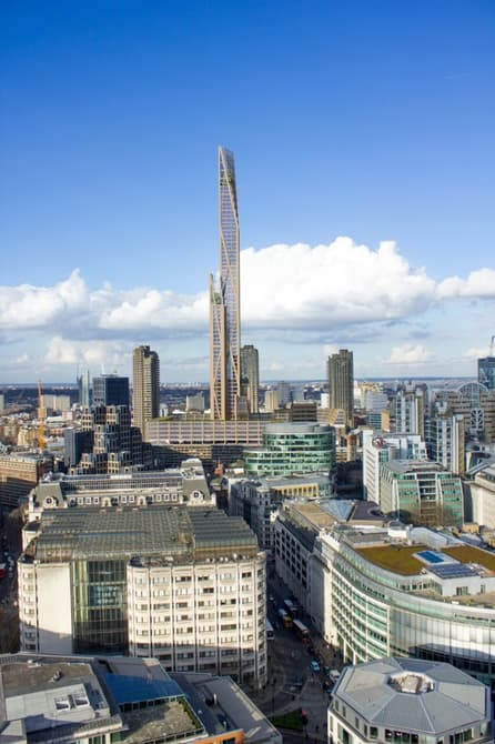 The proposed plan would put the wooden building at about 985 feet tall. Image via University of Cambridge