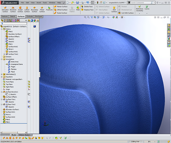 Dog Ball used to demonstrate SOLIDWORKS surfacing