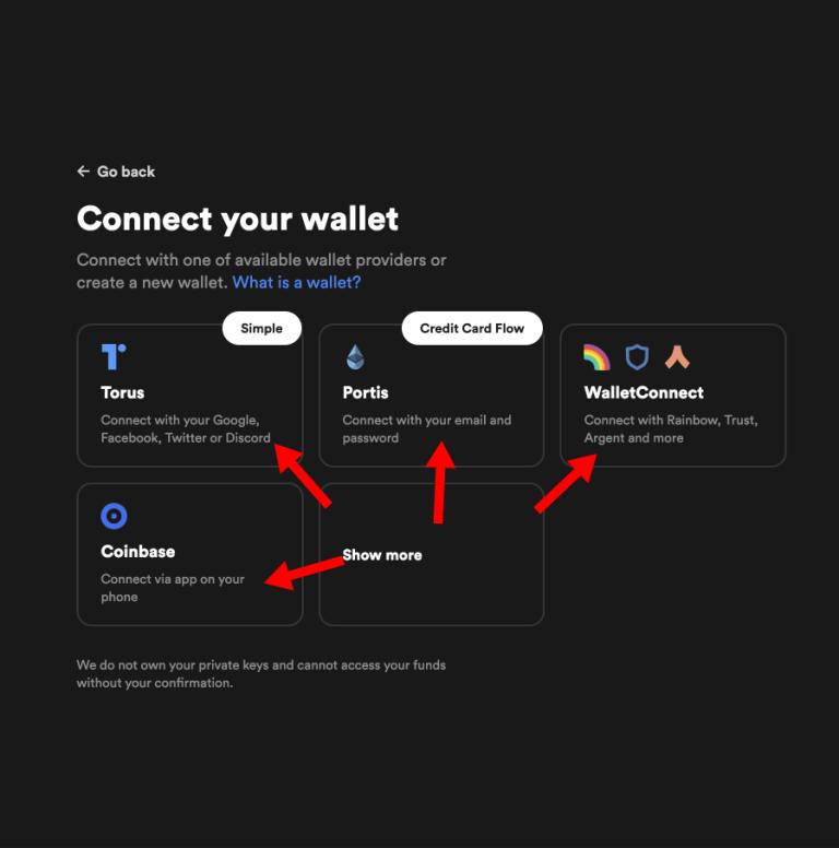 A screenshot of wallet provider on Rarible website