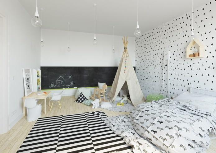 скандинавский интерьер детской