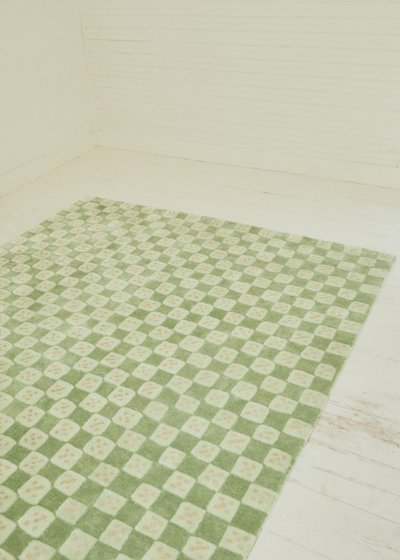 modern meets traditional in domino rug