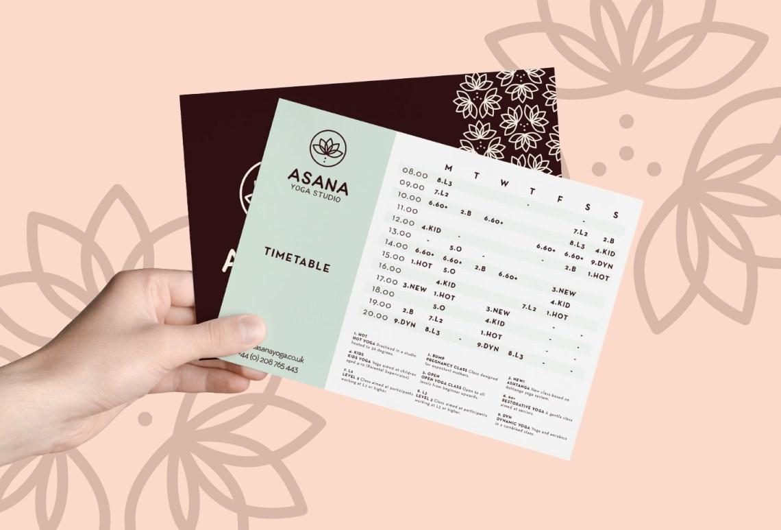 Asana Timetable Design Graphic Design from Aardwolf Design Studio