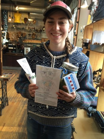 Elise Robison with her wares at Wolfbait