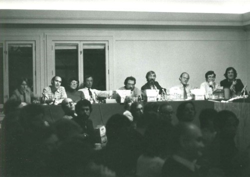 A scene captured from the original Graham Foundation 'mosh pit' in 1977. Left to right: Robert Stern, Richard Meier, Jim Nagle, Peter Eisenman, Stanley Tigerman, Bill Turnbull, Jim Sterling and Ben Weese/Photo courtesy of Graham Foundation Photo courtesy of Graham Foundation