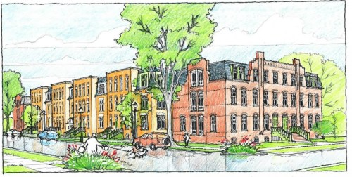 A rendering of Pullman Artspace from the corner of S. 112th Street and Langley Avenue. Courtesy of VOA Associates