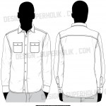 button down shirt vector template