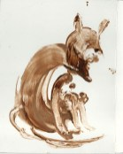 Chocolate cat shaper effect with freshly warmed chocalate on shiny white card
