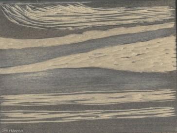 Horizontal landscape woodcut