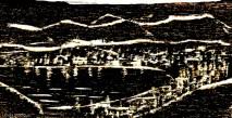 Woodcut of bay sketch