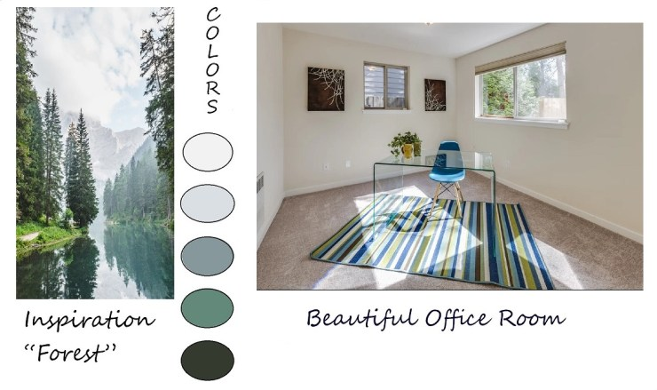 Shows how to use nature for room color inspiration.  Room inspired by a forest.