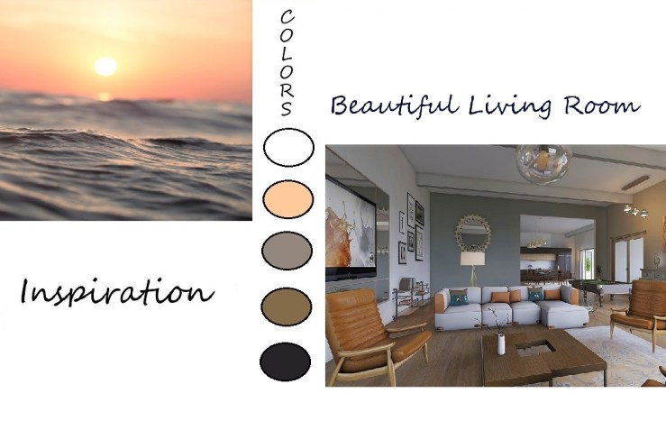 A living room created with colors from a sunset.