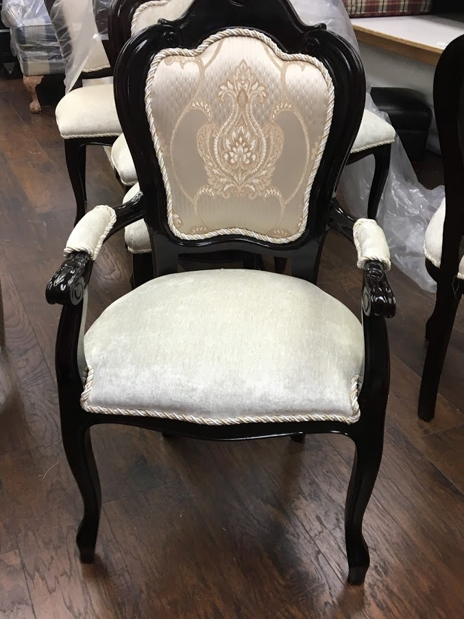 Chair with damask fabric on back and velvet on the seat. Cording is added illustrating 1 of the 5 Excellent Reasons to Reupholster your Furniture, which is to add details.