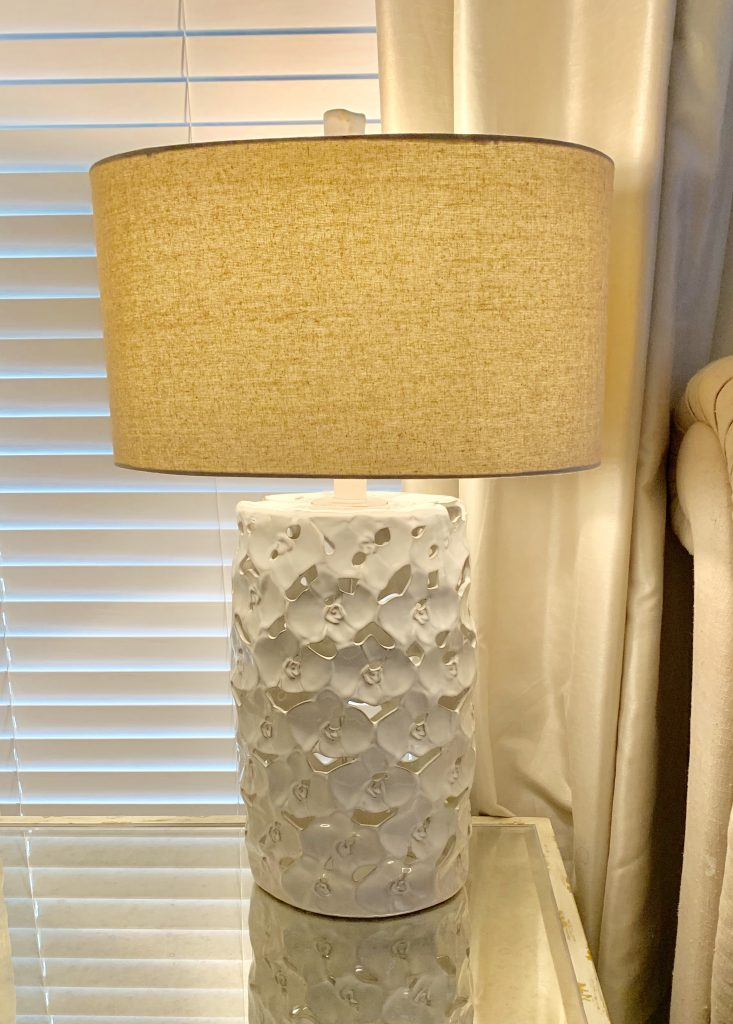 cream lamp with tan lampshade