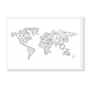 Grafisk verdenskort med hvid baggrund