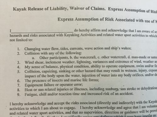 Kayak Release of Liability, Waiver of Claims