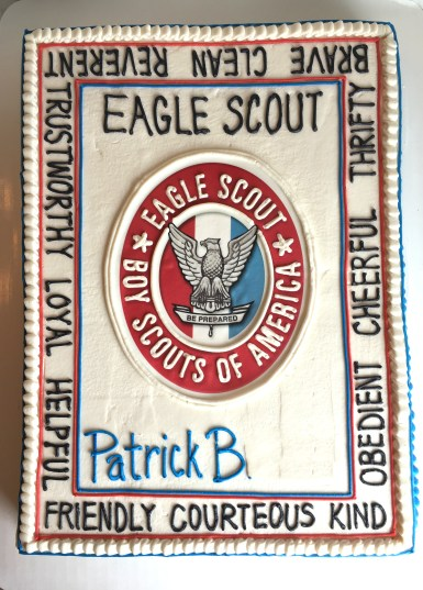 Eagle Scout Cake with Eagle Scout Law and Badge