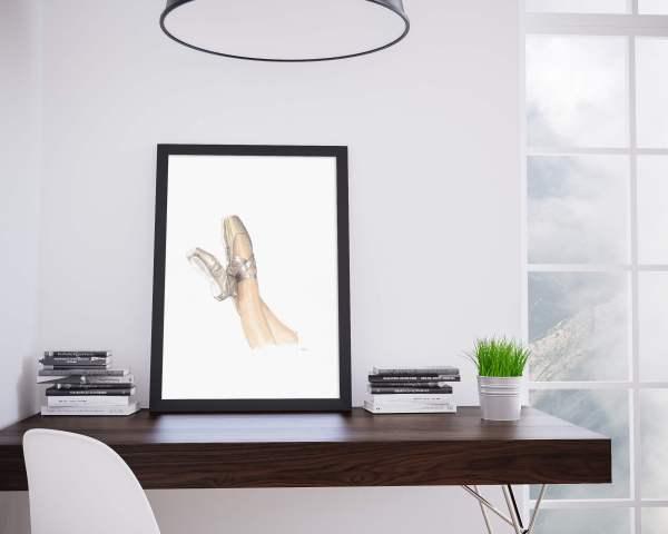 pointe shoes illustration ballet danse aquarelle