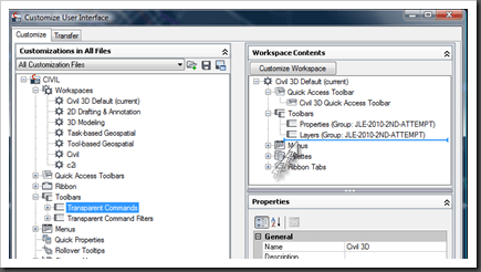Using the CUI to add toolbars in Autodesk Civil 3D