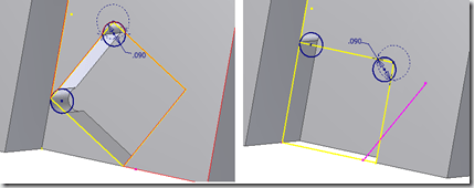 Inventor – Projected Geometry and Converging Edges