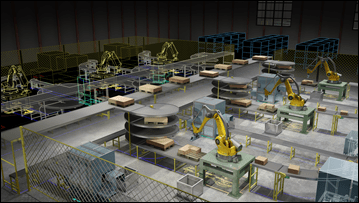 Wide 16x9 banner version of the Factory Design Suite 2012 hero image. Represents Factory Design Suite Ultimate, Premium, and Basic.<br /> CAPTION REQUIRED (see Marketing Guidelines Site for caption usage details): Rendering of a 2D factory layout with an overlay of 3D factory content. Autodesk(R) Factory Design Suite and Autodesk(R) 3ds Max(R) Design software products were used in the design process.