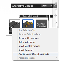 Autodesk Showcase 2012 Add Alternative to Storyboard