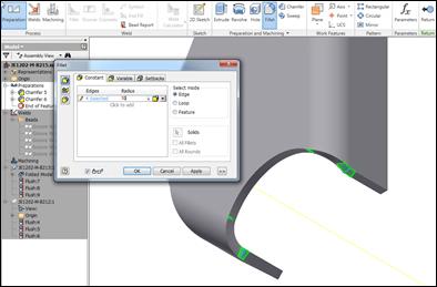 Autodesk Inventor 2012 Welding Fillet Edge