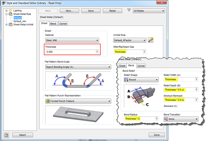 Autodesk Inventor Sheet Metal Rules