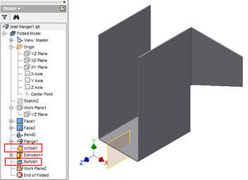 Inventor | Sheet Metal Unfold and Mirror Tip