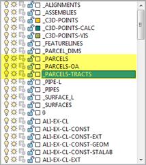 Autodesk Civil 3D Parcel Segments Layer