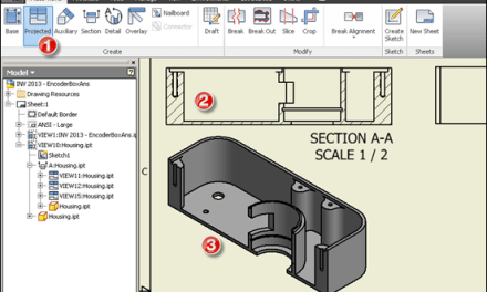 Inventor | Projected Drawing View From Section