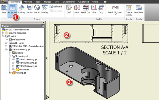 Autodesk Inventor Drawing Projected Cross Section View