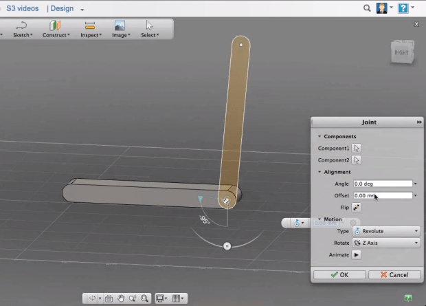 Fusion 360 implements the new Joints approach previously seen in Inventor 2014