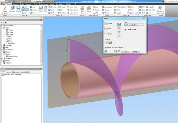 Auger flight sweep in Autodesk Inventor