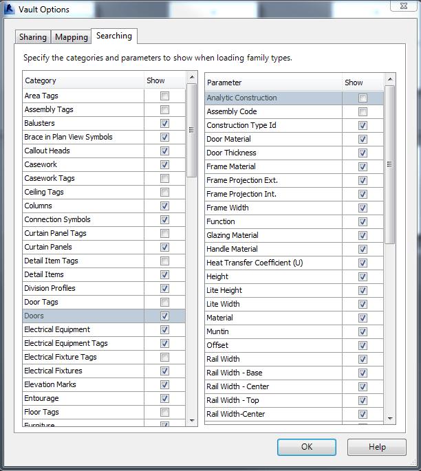 Autodesk Vault 2015 Revit Options