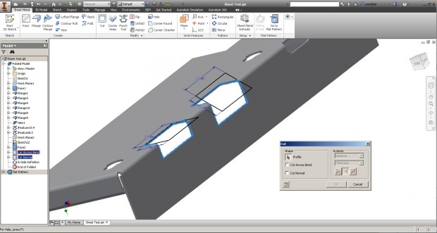Inventor 2015 Sheet Metal Cut Normal