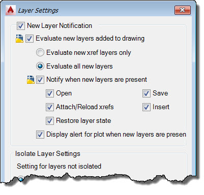 AutoCAD Layer Settings