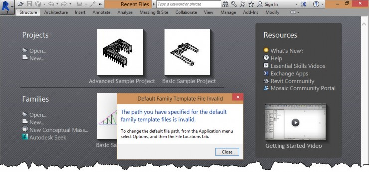 Revit Windows 10 template error