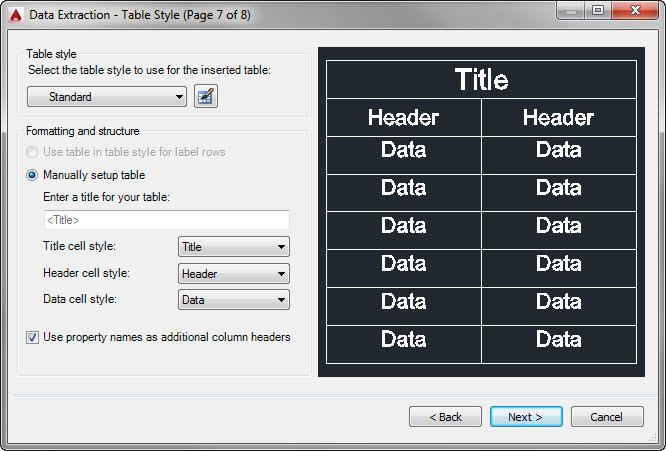 AutoCAD Data Extraction Wizard Page 7