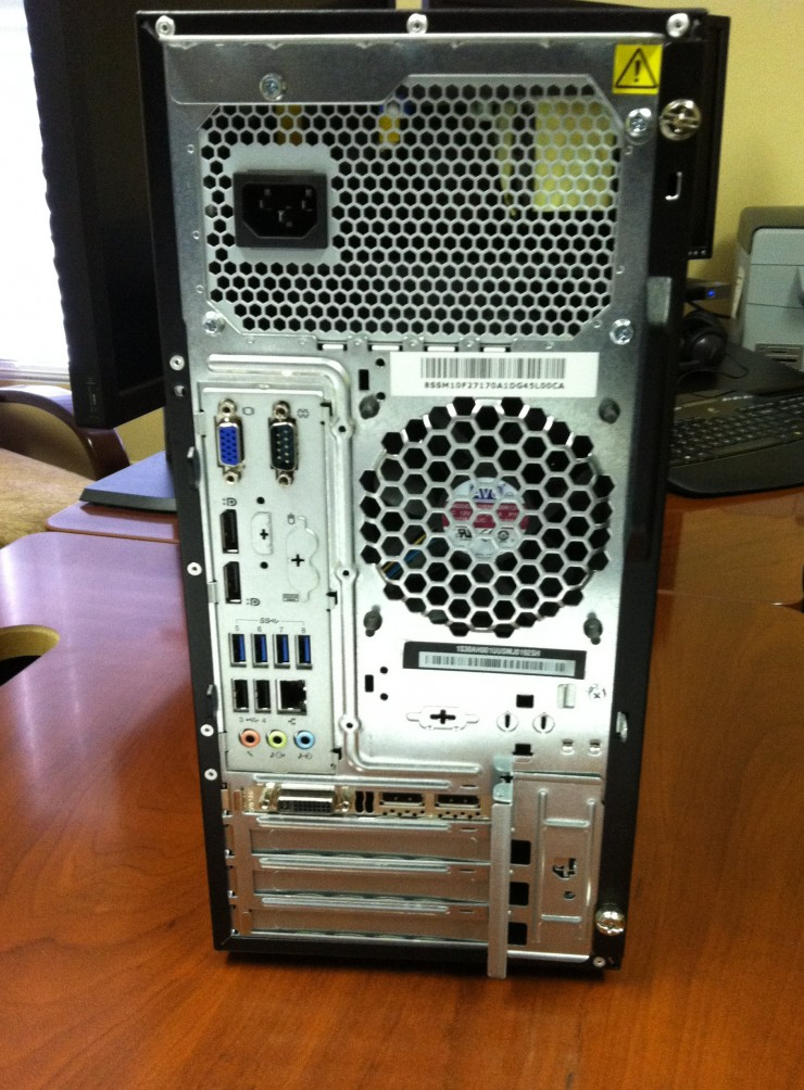 Lenovo ThinkStation P300 Tower Rear View