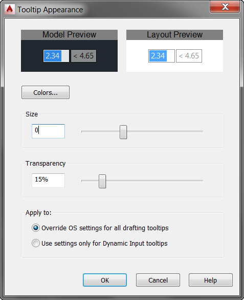 ACAD - DynInput - Tooltip Appearance