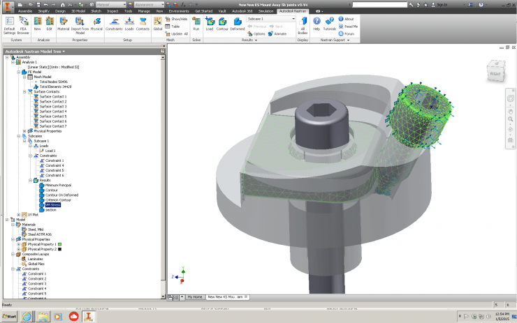 Autodesk Nastran In-CAD Inventor Meshed Model