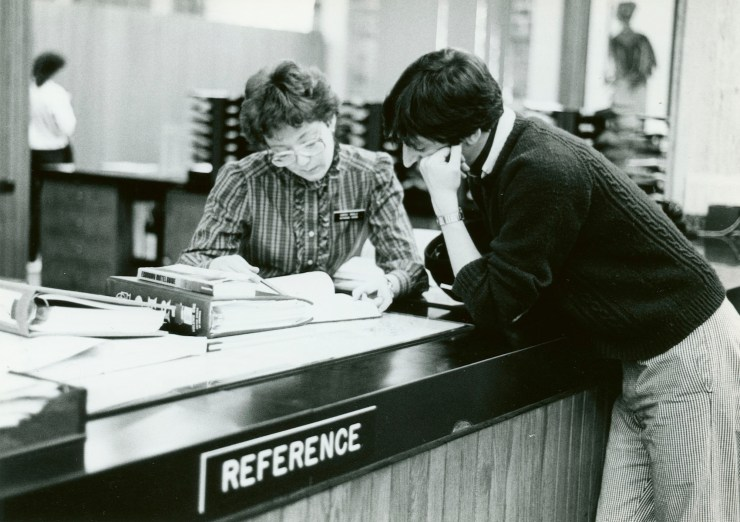 Perkins Library Reference Desk, 1970s